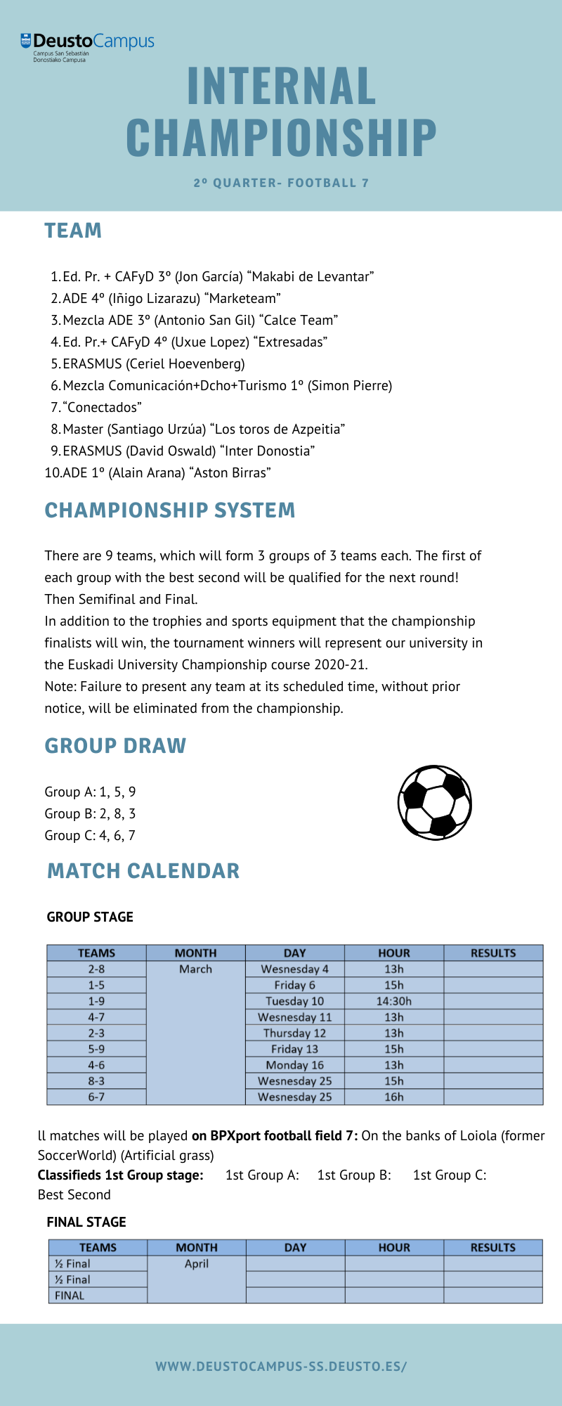 Rules and schedule. Internal Championship.